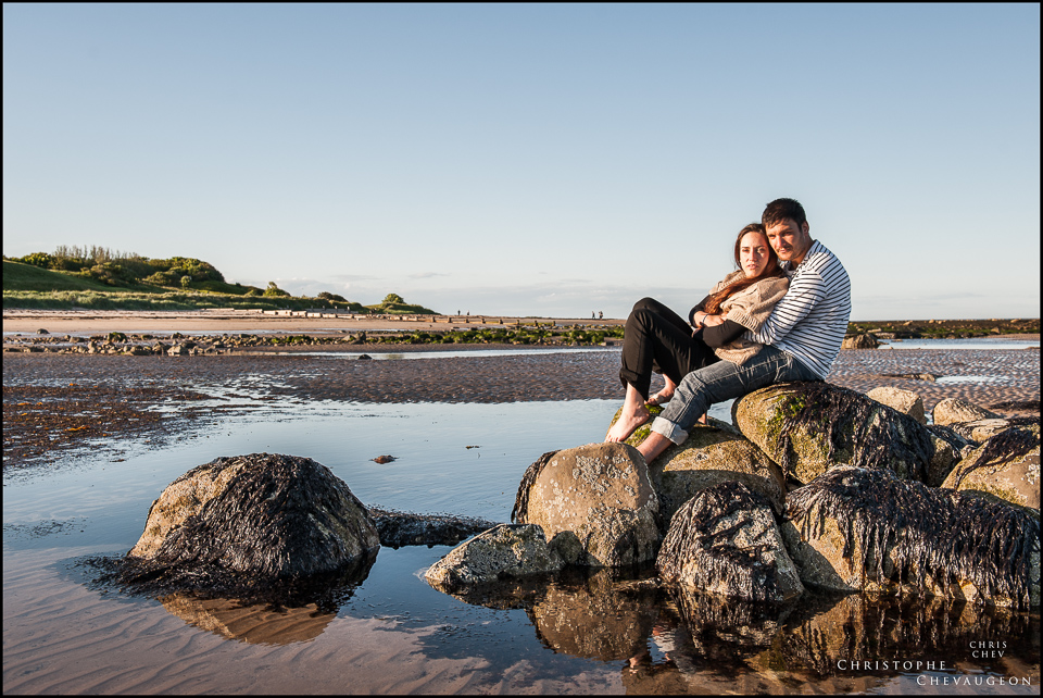Engagement photography on Alnmouth beach