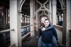 Engagement photos on Bridge in Newcastle