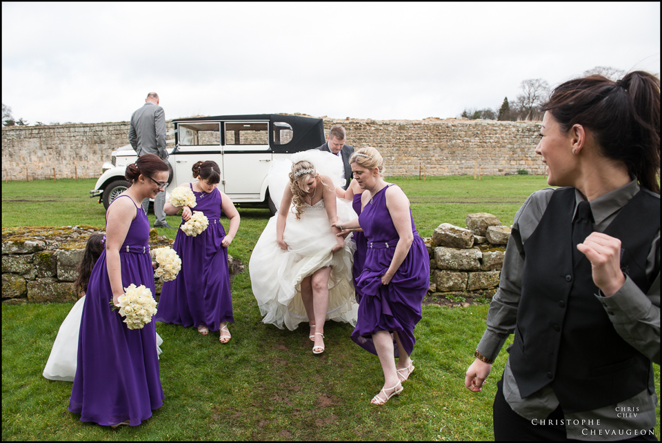 Bride making her way to Hulne Abbey