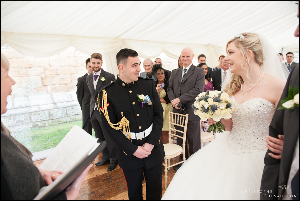 Groom seeing his Bride in her dress for the first time at Hulne Abbey