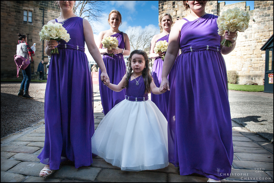 Bridesmaids making their way to Alnwick Castle