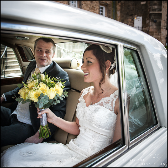 Bride and Her Father arriving at Lumley Castle