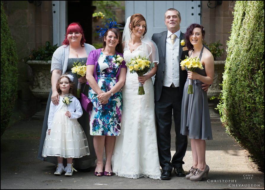 wedding party group photo at Lumley Castle Durham