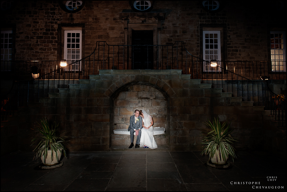 Bride and Groom at night at Lumley Castle
