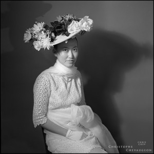Balck and white portrait of a bride