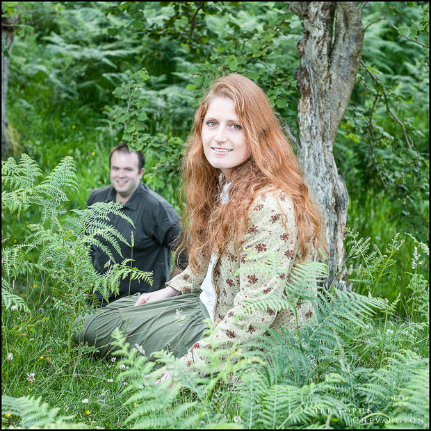 Rothbury, near Alnwick:colour photograph of a couple talking in the woods