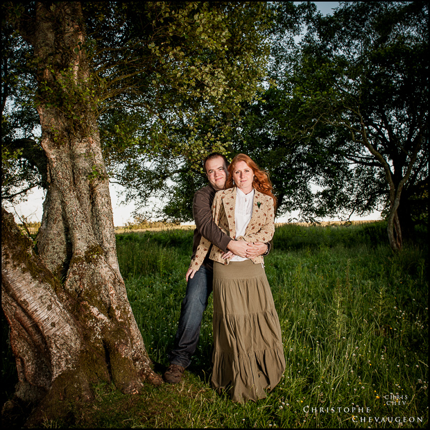 Rothbury, near Alnwick:colour photograph of a couple sitting in the woods