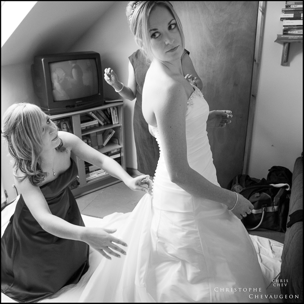documentary black and white photograph of bridal preparations in the North East