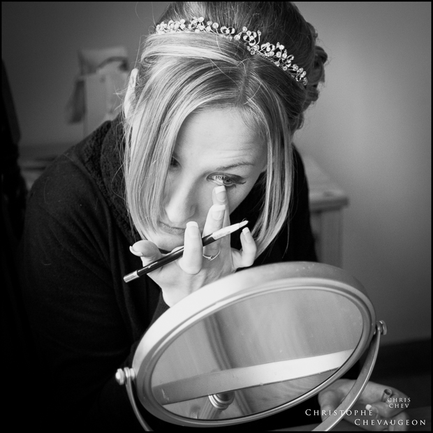 Documentary Wedding Photography in the North East Bride putting her make-up on