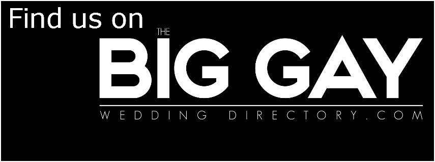 Big Gay Wedding Directory black and white badge