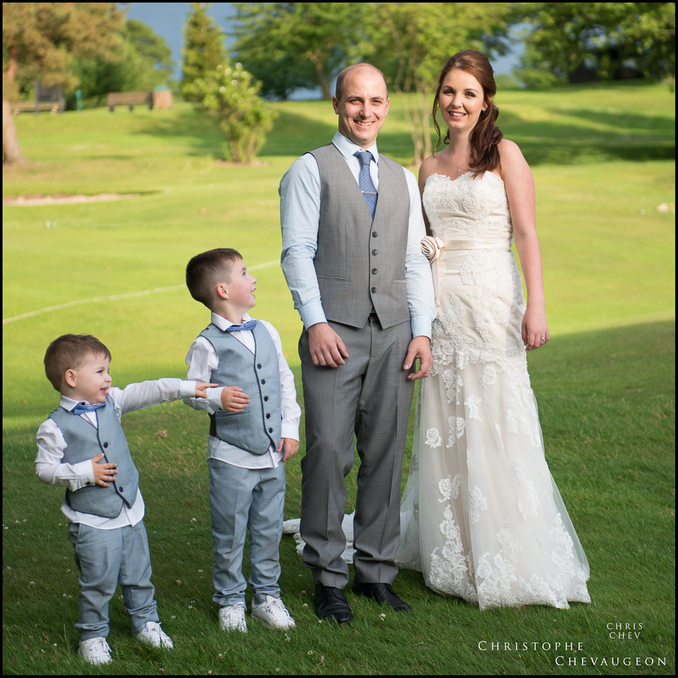 Newcastle Whickham Wedding Photography Bride and Groom and their two children
