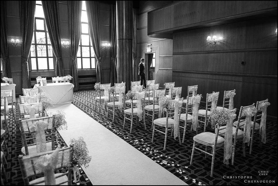 Vermont Hotel Newcastle Wedding Photography, the groom waiting in the Ballroom