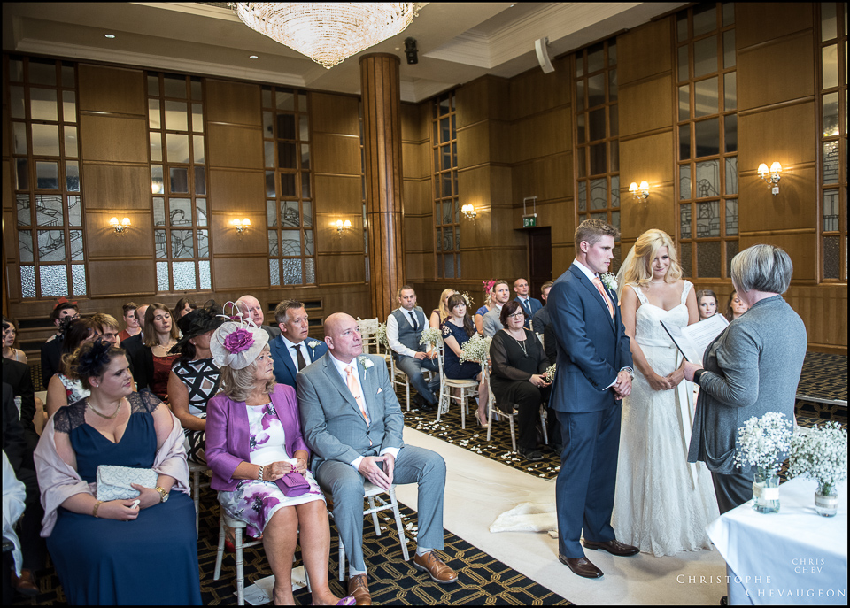 Ceremony in the Vermont hotel Ballroom by ChrisChevPhotographer