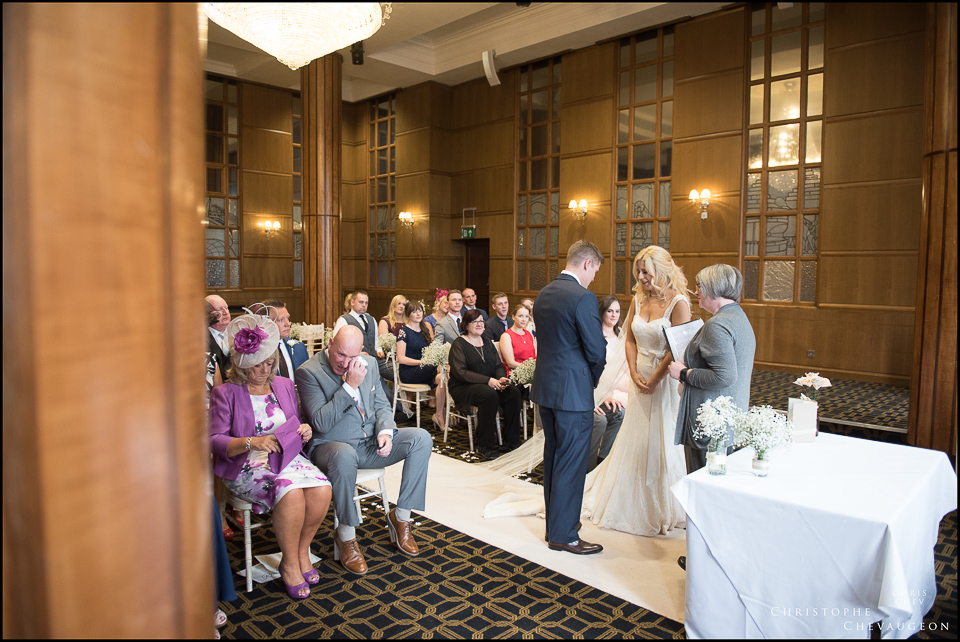 Emotional father of the Bride, wedding photography in the Ballroom of the Vermont Hotel in Newcastle