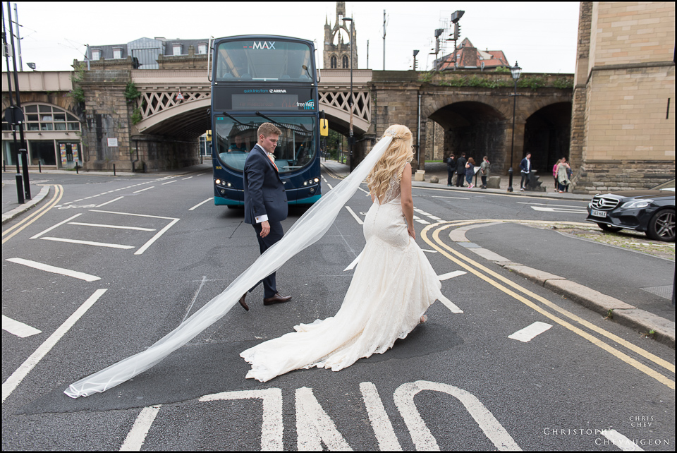 Contemporary Style Portraits of the Bride and Groom in Newcastle by ChrisChevPhotographer