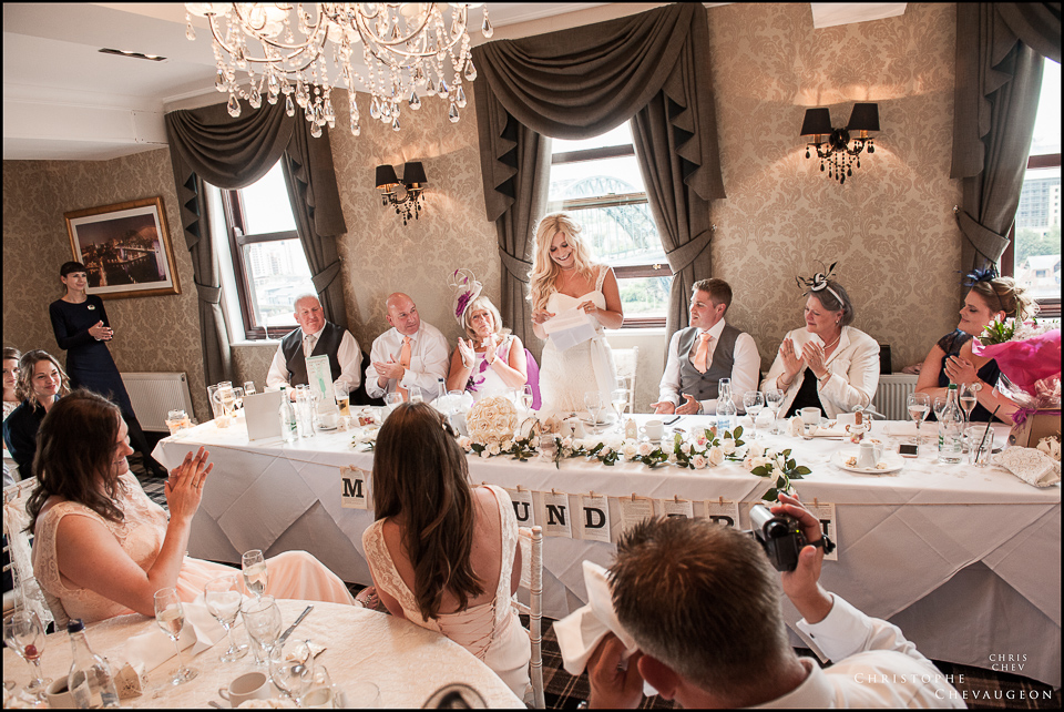 Wedding Photographers North East . Bride giving a speech at the Vermont Hotel Newcastle
