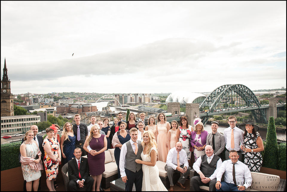 On the Sky Lounge of the Vermont Hotel Newcastle :Group Photo by ChrisChevPhotographer Northumberland based North East wedding Photographer
