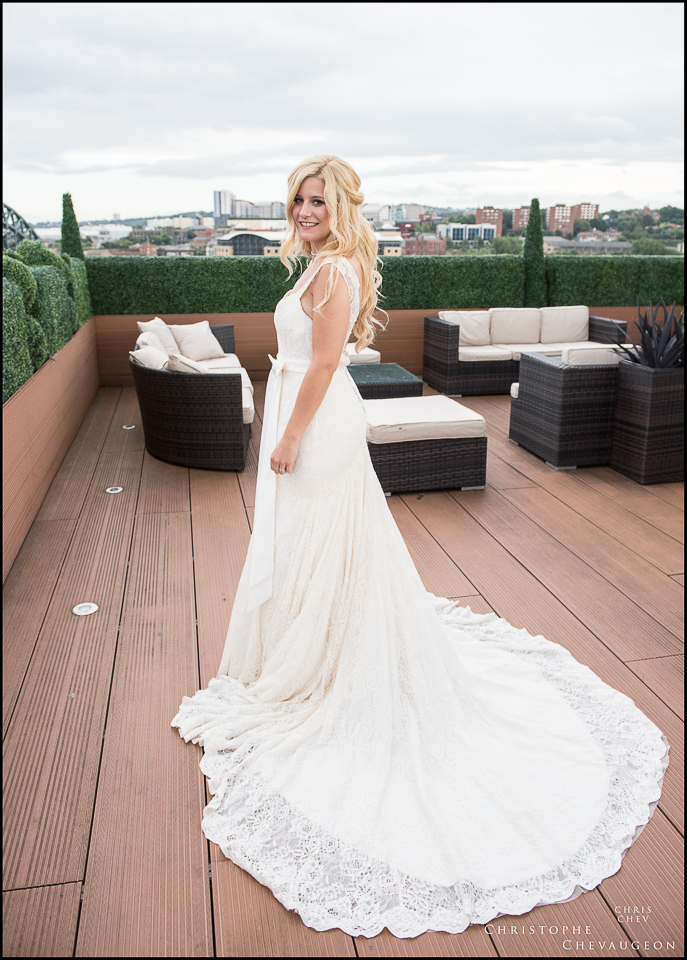 Vermont Hotel Newcastle Bridal Portrait on the Sky Lounge by ChrisChevPhotographer North East Wedding Photographers