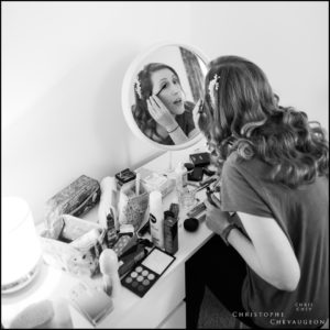 Bride getting ready in Northumberland Cottage