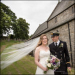 Bride and Groom outside of Alwinton Church Northmberland