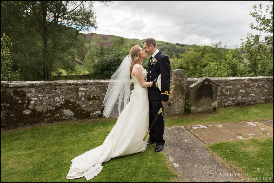 Bride and Groom outside the Alwinton Church in Northumberland Northumberland Wedding Photographer