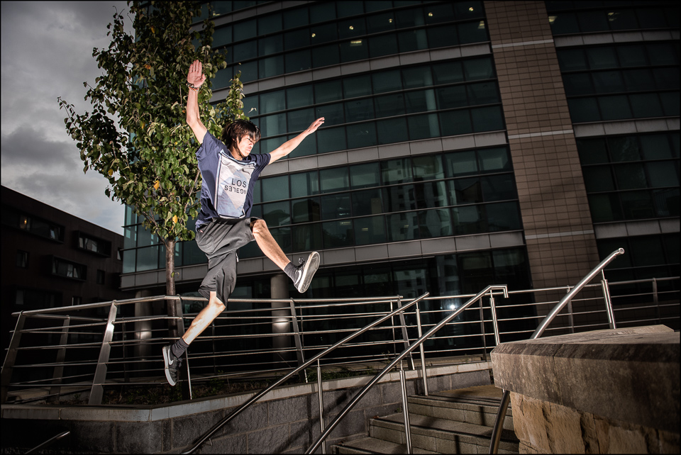 Free Runner and Parkour adept action Newcastle Up on Tyne near the Baltic