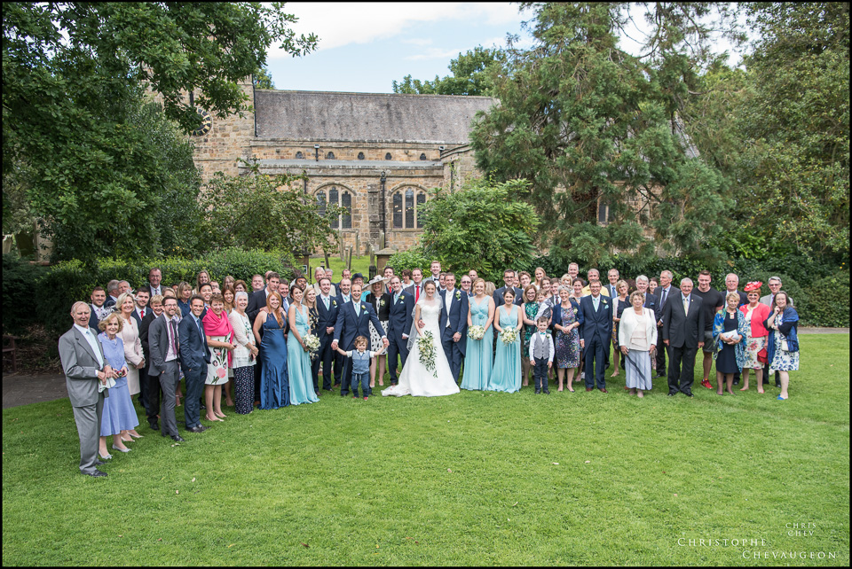 St Mary's Church, Ponteland, Northumberland, Wedding photography Whole Group Photo