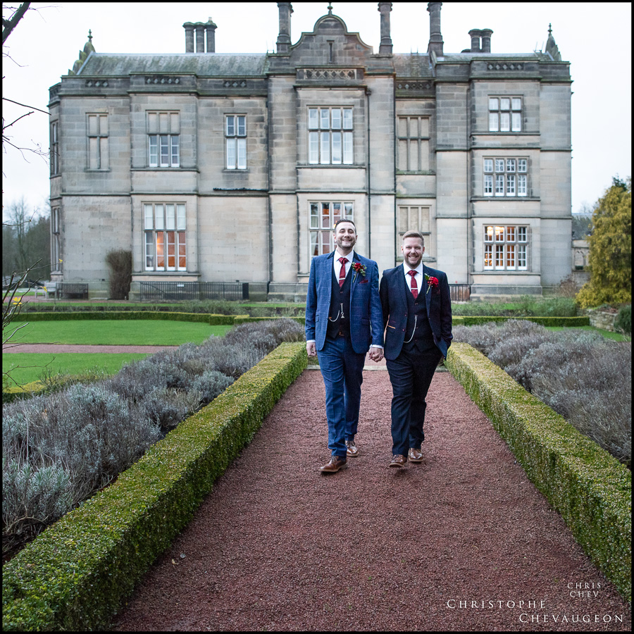 Gay Couple Just Married at Matfen Hall walking the grounds